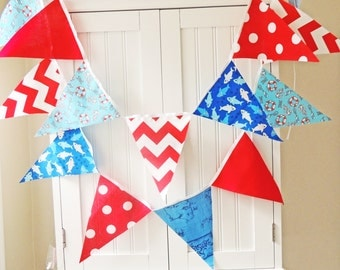 Banner, Bunting, Nautical Fabric Pennant Flags, Royal Blue Shark, Anchor, Red Chevron, Baby Boy Nursery Decor, Baby Shower, Birthday Party