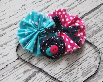Piper- hot pink, navy and teal double ruffle and rosette headband