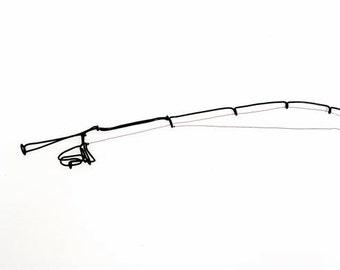 Fishing Rod Wire Sculpture, Wire Art