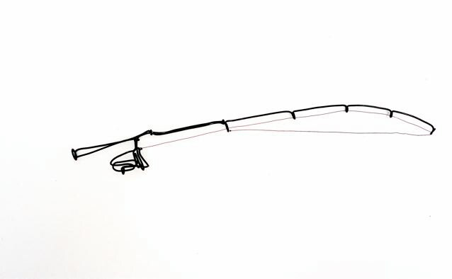 Fishing rod wire sculpture wire art for Wire fishing rod