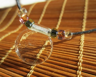 Clear Petal Glass Pendant: Adjustable Cord Necklace  N314