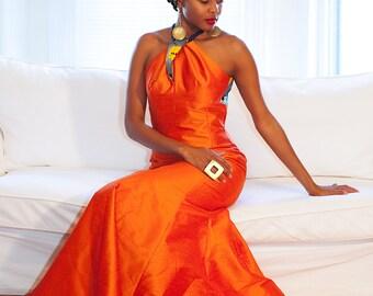 Gia racer back halter gown