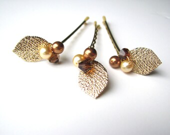 Autumn Leaf Hair Pin Cluster with Swarovski Crystals