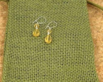 Faceted Golden Citrine Beaded Earrings
