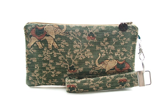 Indian elephant purse - boho clutch - womens handmade handbags - small purse - wristlet - bohemian fabric bag