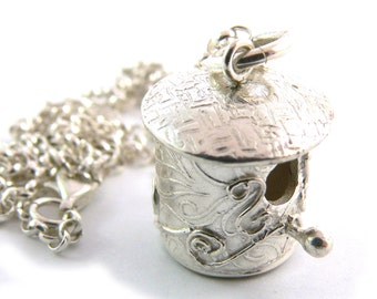 One of a Kind Fine Silver Birdhouse Pendant Necklace