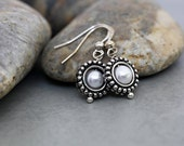 SALE - Snow Drops - Framed Pearl Earrings