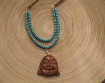 Happy Buddha Necklace, Extra Long Necklace with Buddha pendant, Buddha Necklace, Yoga Jewelry, Layered Necklace, Mala Pendant