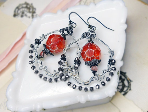 Rustic Beaded Earrings - Assemblage Festoon Hoops - Faceted Red Beads, Painted White Hammered Wire, Silver, Pink Glass - Assemblage Earrings