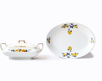 Serving Dishes | Vintage | Yellow and Black Roses and Daisies