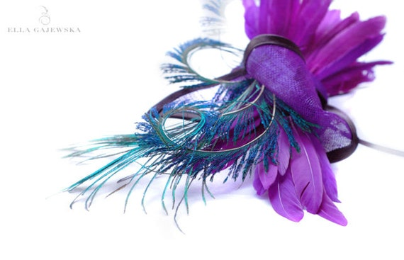 Purple and Peacock Fascinator Straw Bow Cocktail Hat Headpiece Violet - Weddings Races Party Summer Ascot Royal Derby Black Elegant