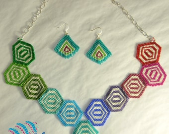 Rainbow Geometerics Necklace - Peyote Stitch - Featured at Rock the Runway 8