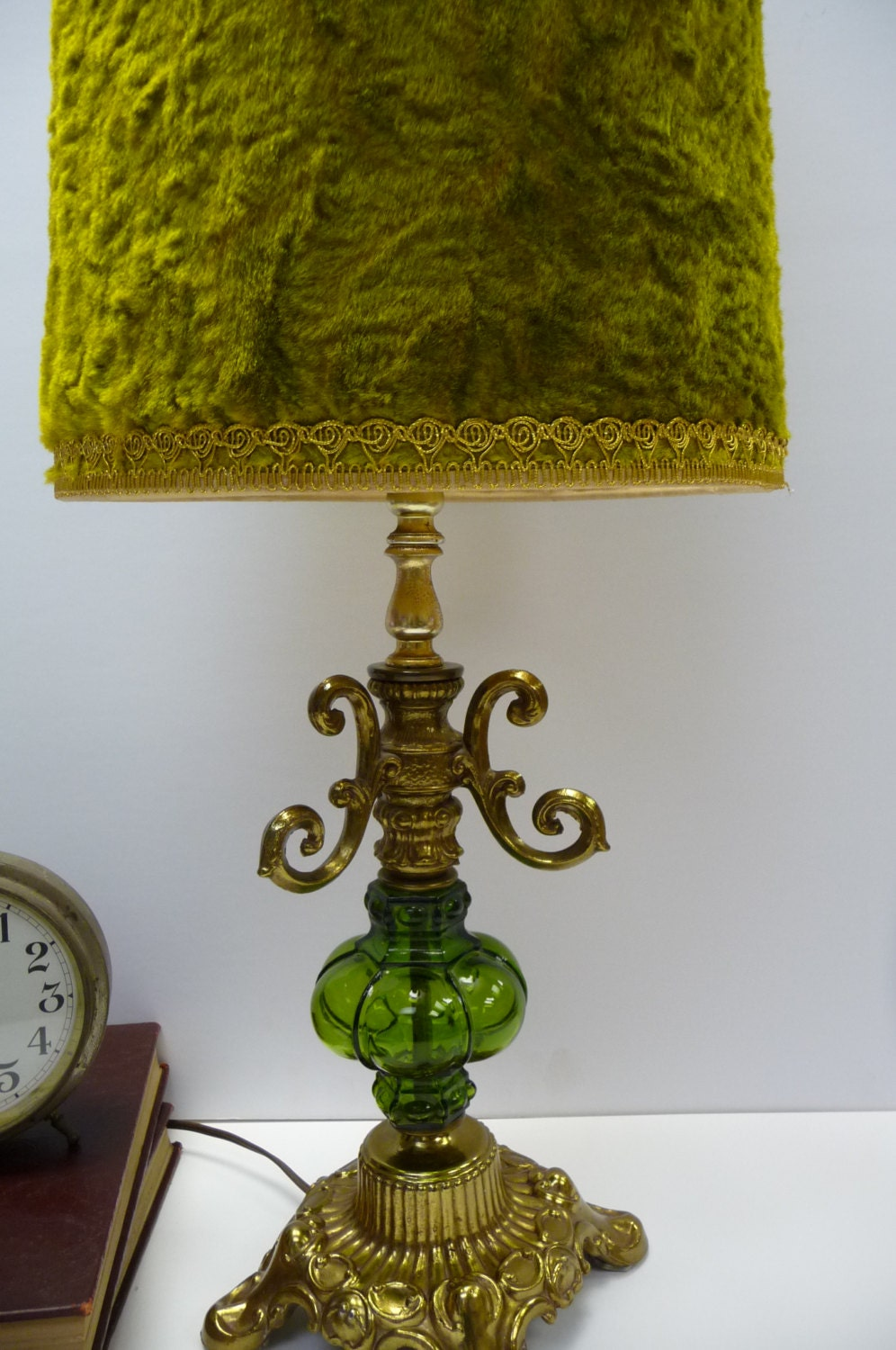 Vintage Table Lamp Light Green Glass Brass Fuzzy Lampshade Mid