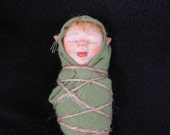 "OOAK  polymer clay art doll, ""Pixie Bunting Giggles"", baby pixie, fairy, sprite, gnome baby by Lori Platt of The Pixie Knoll"