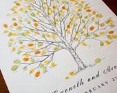 Fingerprint Tree Wedding Guest Book Alternative, Original Hand-drawn Large Birch Design (ink pads sold separately)