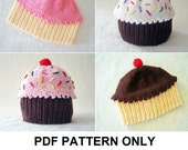 Knit Hat Knitting Pattern - Baby Cupcake Hat Pattern - the CUPCAKES Hat (Newborn Baby Toddler Child & Adult sizes incl'd)
