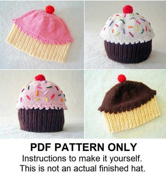 Knitting Pattern - Baby Cupcake Hat Pattern - the CUPCAKES Hat (Newborn, Baby, Toddler, Child & Adult sizes incl'd)