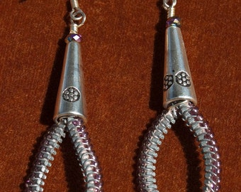 Upcycled Teardrop Zipper earrings
