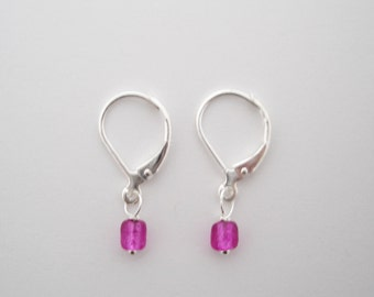 Tiny pink fuchsia dot earrings, modern simple, stylish, leverback earrings, buy for a cause, PIF, breast cancer awareness, Nasty Woman
