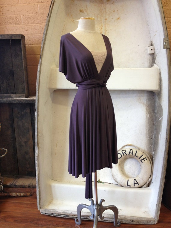 Vintage Titanic Plum-Satin Jersey- Octopus Convertible Wrap Dress