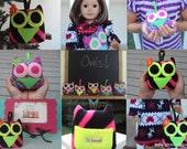 Neon Mini Plush Owl, Tooth Fairy Pillow, Gift card Holder, Owl for Doll, Neon Owl