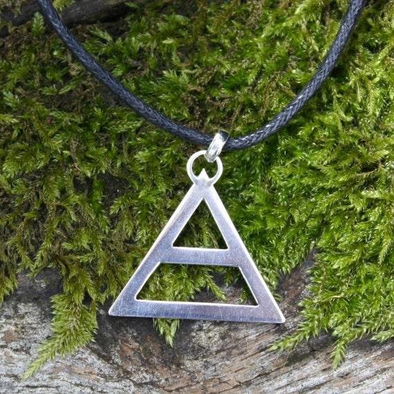 Sterling silver Air Symbol pendant , Triad , Air Element