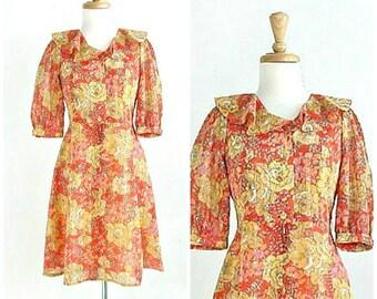 Vintage Orange Party Dress - babydoll - floral - shirtwaist - 70s dress - Medium