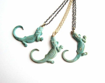 verdigris green alligator necklace - florida gator on your choice of chain
