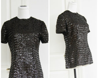 70s 80s Sequin Shirt Blouse Medium Dark Brown Disco Retro Shiny Metallic