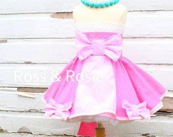 Cinderella inspired Dress Up Costume Apron, Half Apron, Pink Gown Style....Made to Order