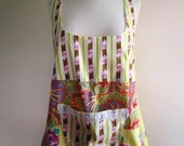 Pinafore Apron Smock Shabby Chic Floral Vintage Yellow and Magenta  - Size Medium