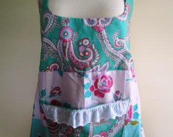 Pinafore Apron Smock Shabby Chic Floral Retro Turquoise and Pink  - Size Medium