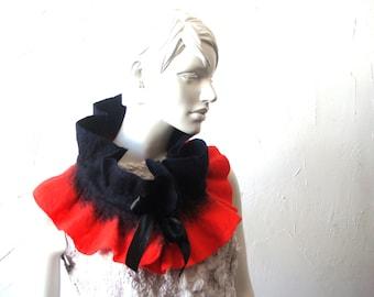 Felt scarf collar women accessory Dark BLUE RED unique warm  from merino wool Ready to shipped Original woman GIFT idea