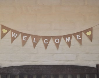 WELCOME Banner Hessian Burlap Rustic Wedding Celebration Party Bunting Decoration Thank you photo prop house warming