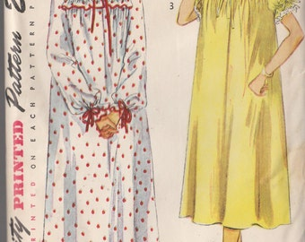 Vintage Sewing Pattern Nightgown Negligee Miss Size 12 Bedjacket 1950 Lingerie