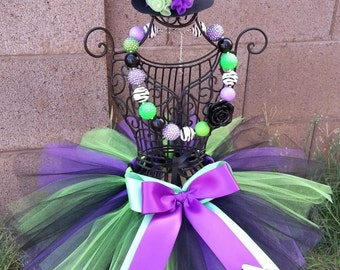 LITTLE WITCH- Purple, Green, Blue baby/child Tutu Set:  Newborn-5T