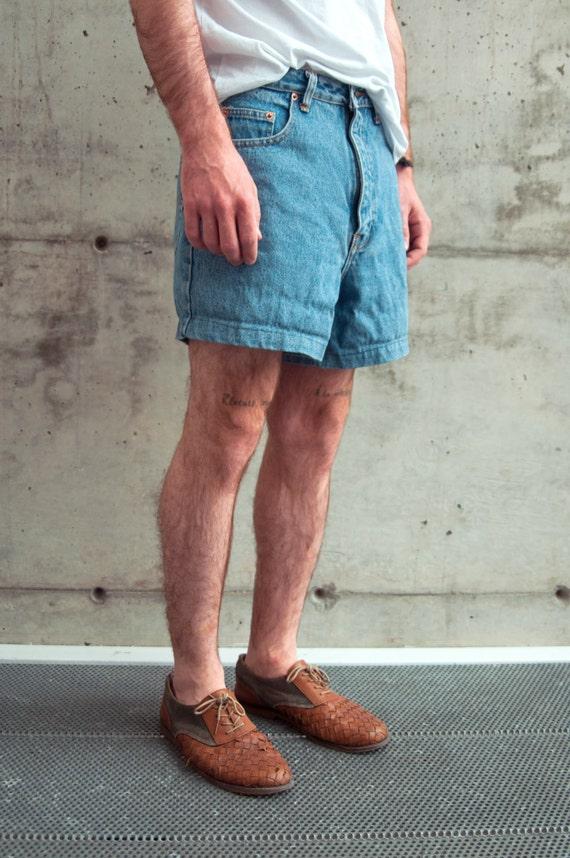 High Waisted Mens Shorts / Denim Mini Shorts / Summer Jeans
