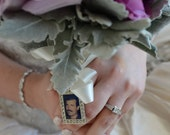 Wedding Bouquet Charm, Bridal keepsake, RECTANGLE, Personalized, custom photo or image
