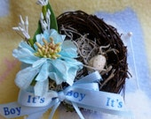 Baby Shower Corsage..Bird Nest Corsage..Mommy to Be Corsage..Feather Her Nest..Bird Themed Baby Shower..Nesting Corsage..Bird Nest :)