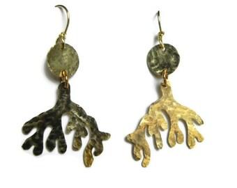 coral branch chandelier earrings, ocean cutout coral earrings