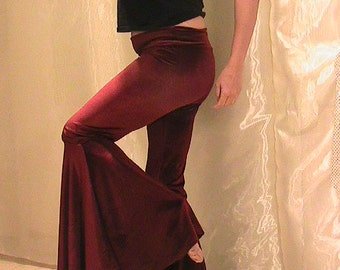ATS, Tribal, Hippie, Festival and Flamenco Velvet Flare Pants in Burgundy, Black and Red choices