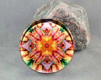 Dragonfly Glass Paperweight Boho Chic Mandala Sacred Geometry Hippie Kaleidoscope Mod New Age Unique Gift for Boss Teacher Opulent Solace