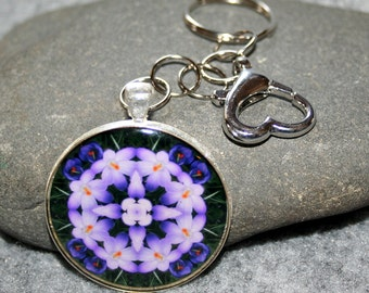 Crocus Purse Charm Keychain Boho Chic Mandala New Age Sacred Geometry Hippie Kaleidoscope Heart Chakra Unique Gift For Her Prelude of Spring