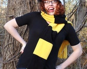Hufflepuff badger fleece scoodie hat (scarf + hood)