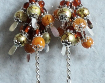 Dangle Earrings, Fall Earrings, Amber and Gold, Marbled Glass Beads, Fall Jewelry, Autumn Earrings - AUTUMN HARVEST