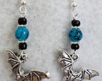 Bat Earrings, Gothic Earrings, Turquoise and Black, Dangle Earrings, Goth Jewelry, Halloween Earrings, Halloween Jewelry