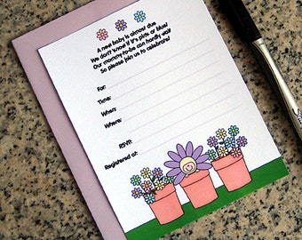 flower pot pastels lavender green yellow baby shower lined custom invitations for either boy or girl with envelopes DIY - set of 10