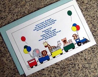 zoo train boy birthday party invitations (full sized, fully custom) with blue envelopes - set of 10