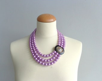 Purple pearl statement necklace