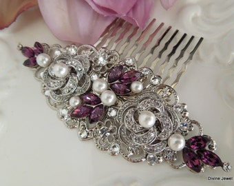 Pearl Hair Comb Bridal Pearl crystal Hair Comb Wedding Rhinestone Hair Comb Purple Hair Comb Vintage style leaf hair comb accessory ROSELANI